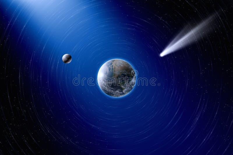 Tierra, luna y cometa imagen de archivo