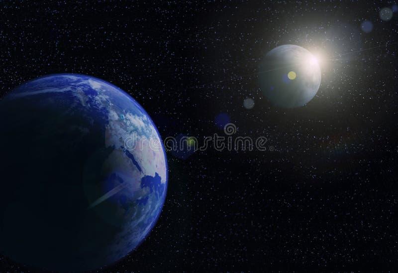 Tierra, luna y sol del planeta libre illustration