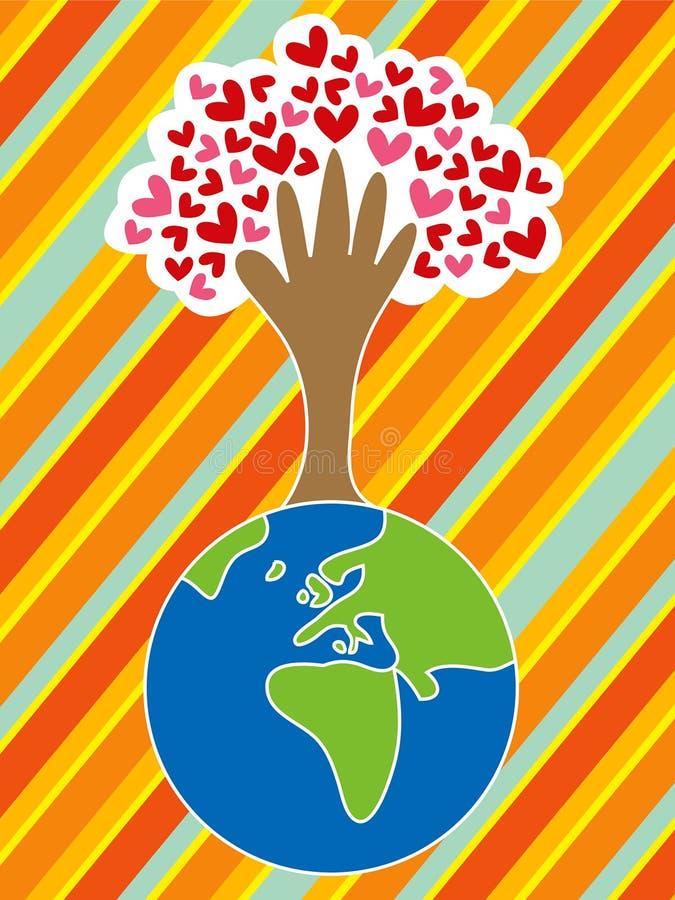 Tierra, mano, árbol, amor stock de ilustración