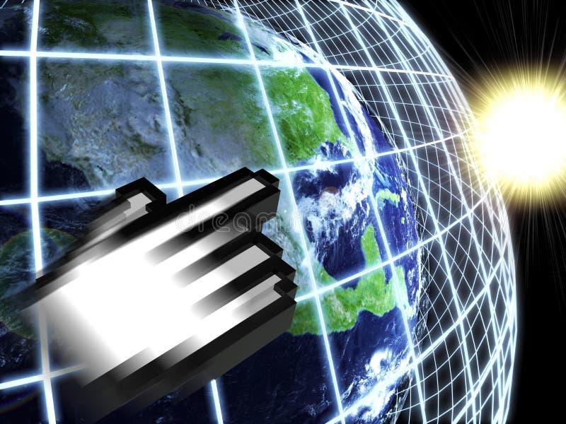 Tierra moderna en una red del Web con el icono de la mano libre illustration