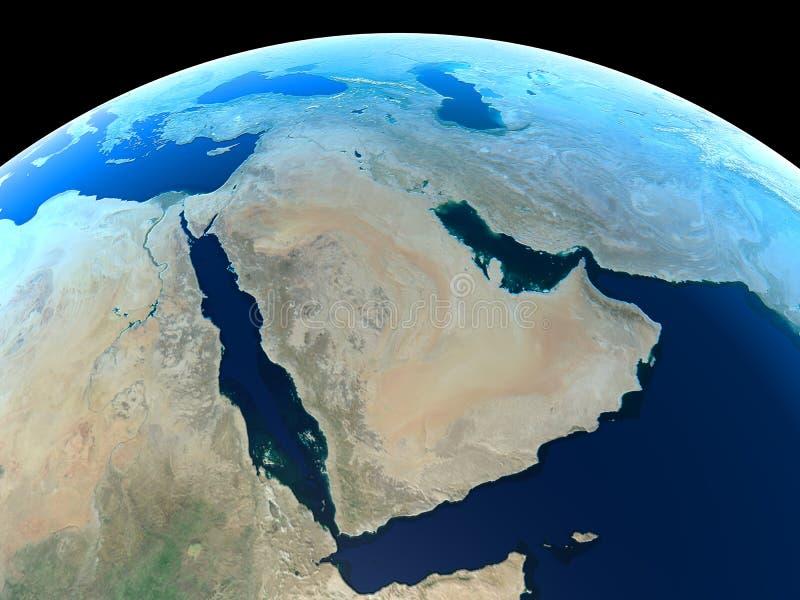 Tierra - Oriente Medio ilustración del vector