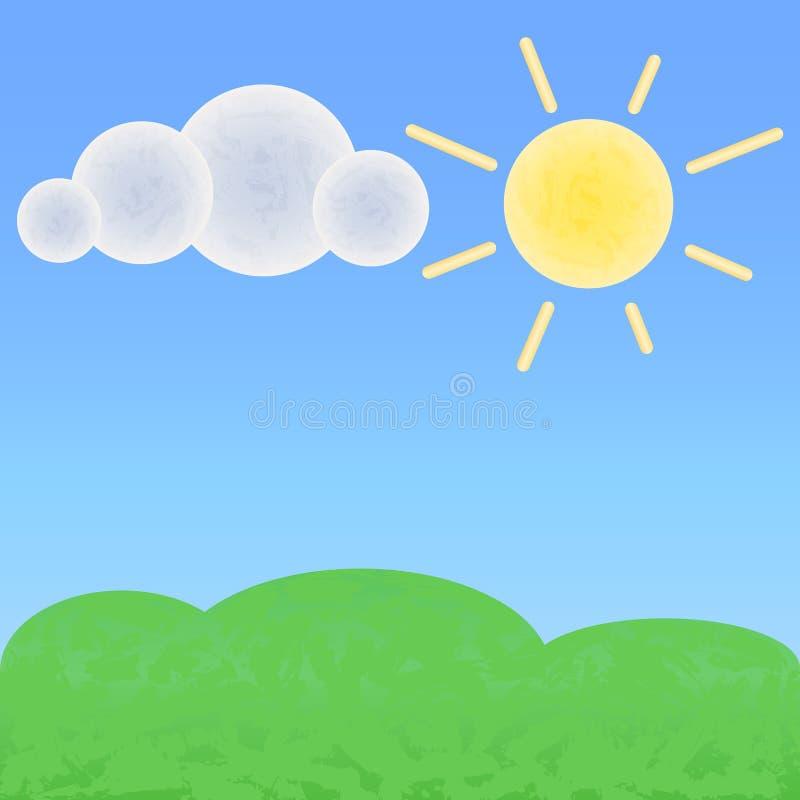 Tierra pacífica con la nube y el sol Paisaje optimista del verano con el lugar para el texto libre illustration