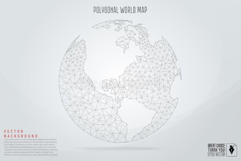 Tierra polivinílica baja del planeta del espacio poligonal abstracto con la conexión de d stock de ilustración
