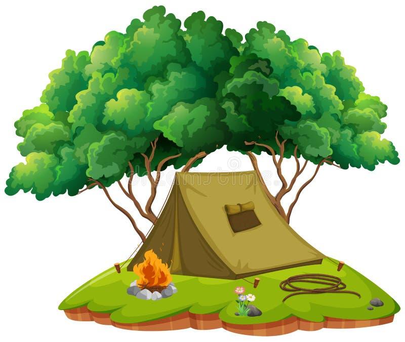 Tierra que acampa con la tienda y la hoguera stock de ilustración