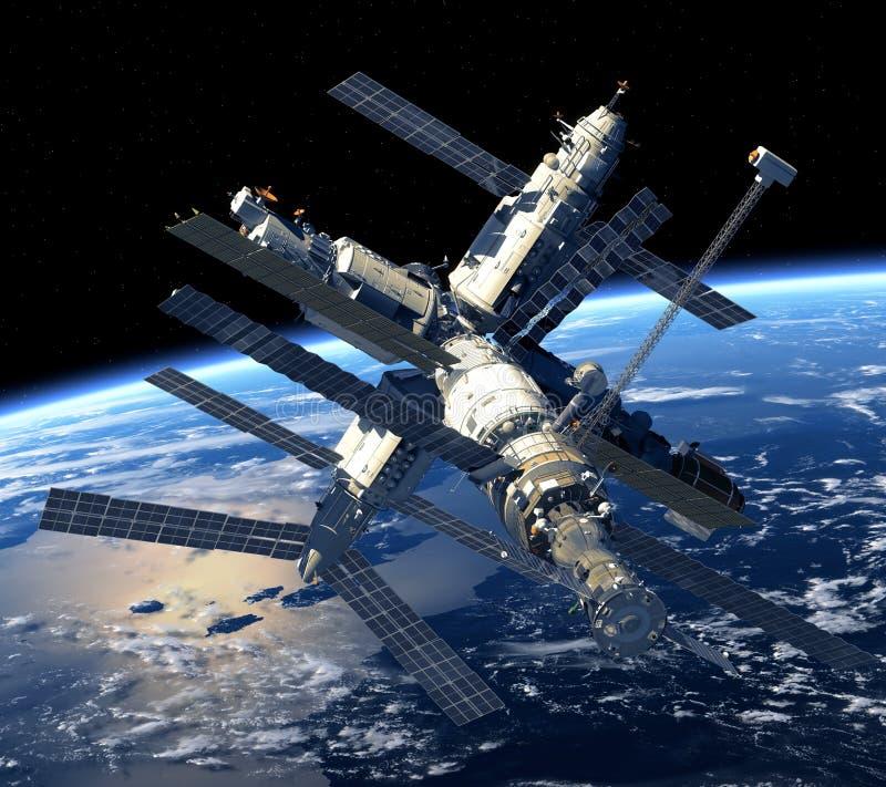 Tierra que está en órbita de la estación espacial. stock de ilustración