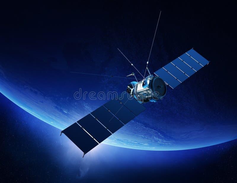 Tierra que está en órbita del satélite de comunicaciones ilustración del vector