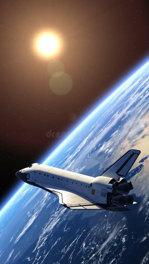 Tierra que está en órbita del transbordador espacial. ilustración del vector