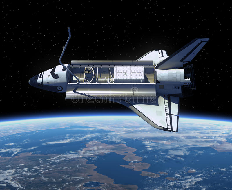 Tierra que está en órbita del transbordador espacial. libre illustration