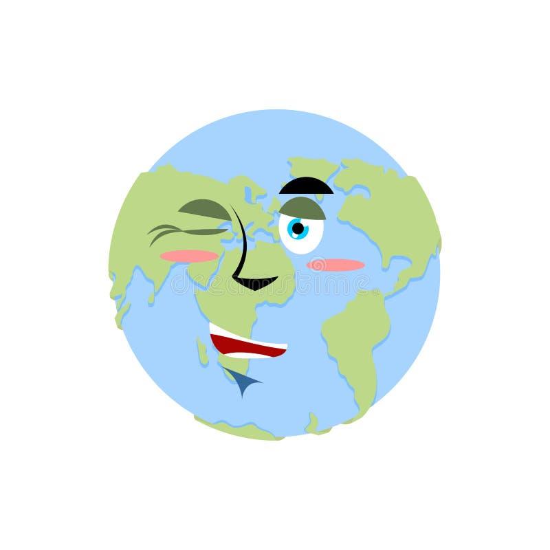 Tierra que guiña Emoji Feliz emoción del planeta aislada stock de ilustración