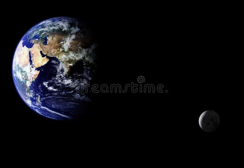 Tierra que se mueve en órbita alrededor stock de ilustración