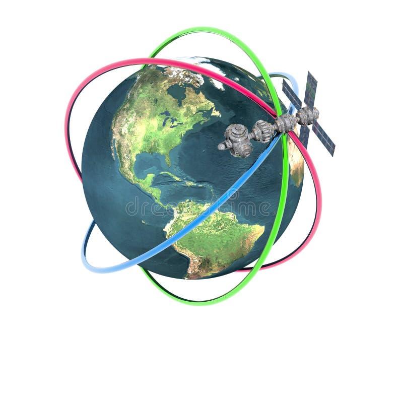 Tierra que se mueve en órbita alrededor basada en los satélites de Sputnik