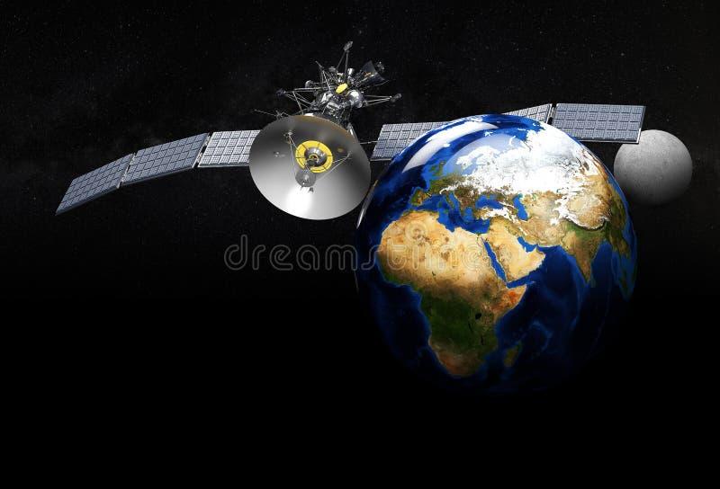 Tierra que se mueve en órbita alrededor basada en los satélites ejemplo 3d, en fondo negro ilustración del vector