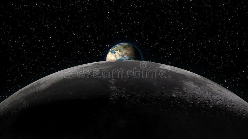 Tierra que sube sobre horizonte de la luna ilustración del vector