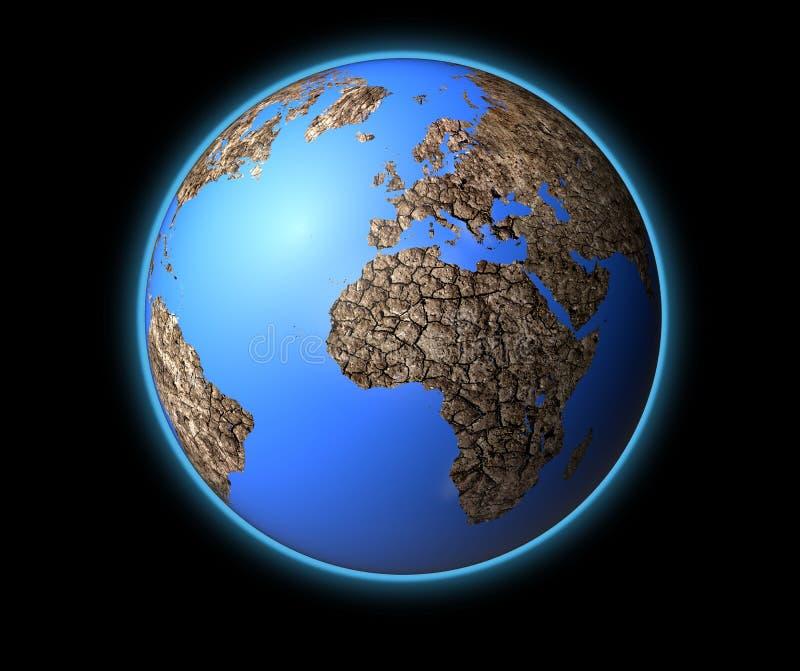 Tierra seca aislada en la tierra de la parte posterior del negro stock de ilustración
