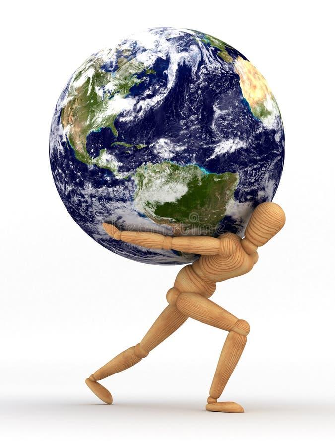 Tierra sobre hombro ilustración del vector
