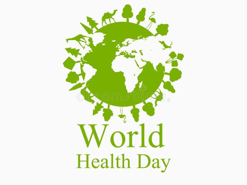 Tierra verde del planeta Animales en el planeta Día de salud de mundo Vector stock de ilustración