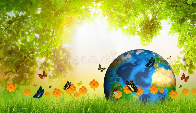Tierra verde en hierba verde con la hoja y la mariposa verdes libre illustration
