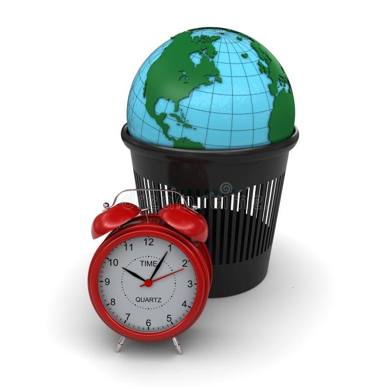 Tierra verde en la basura. Reloj de alarma rojo stock de ilustración