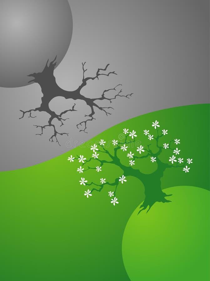 Tierra, vida y muerte del planeta,   stock de ilustración