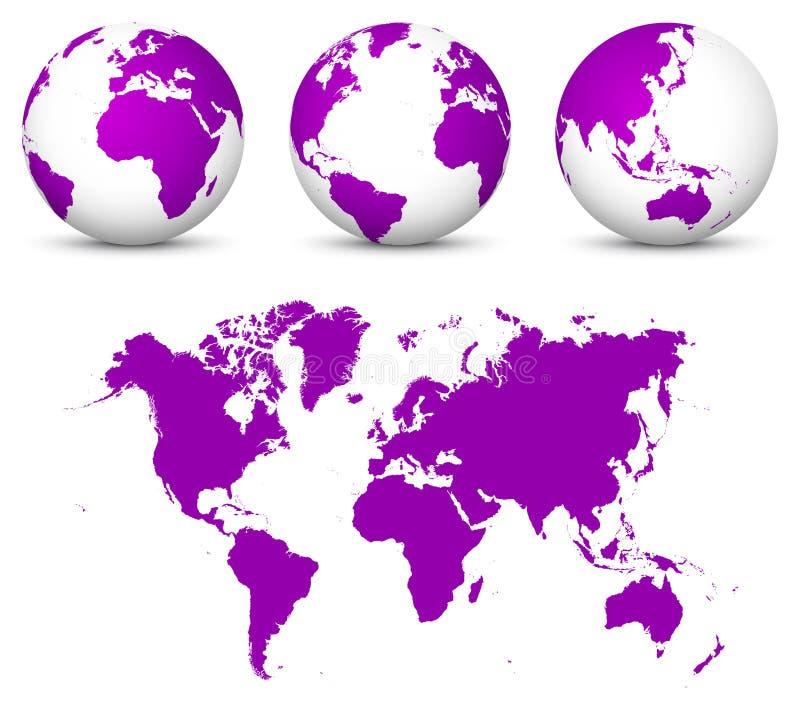 Tierra violeta del vector 3D - colección del globo con el 2.o mapa del mundo sin distorsión en color púrpura stock de ilustración