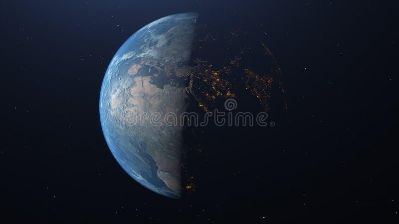 Tierra vista de espacio con la iluminación de la ciudad imagenes de archivo