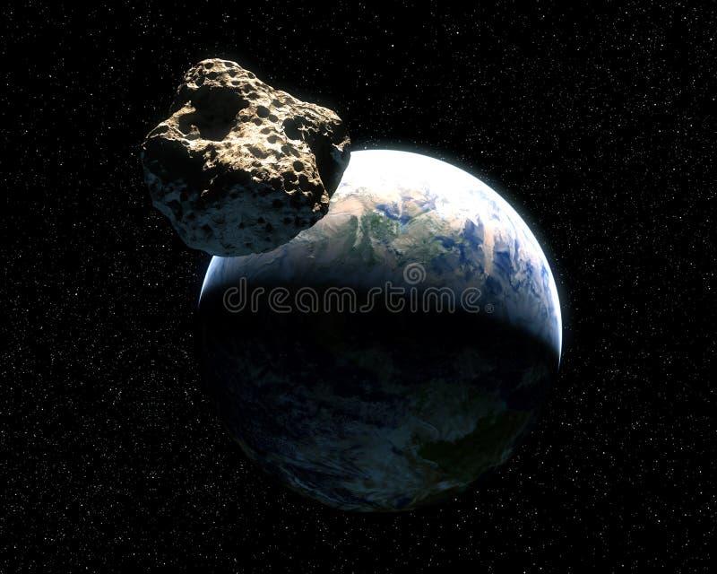 Tierra y asteroide ilustración del vector