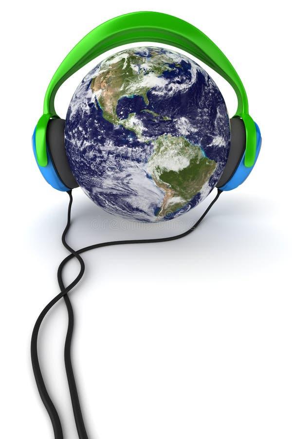Tierra y auriculares ilustración del vector