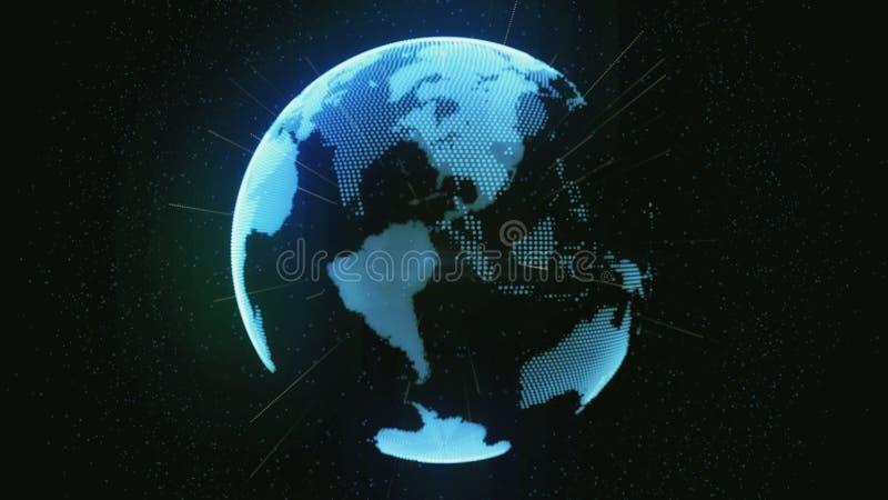 Tierra y conexiones del planeta stock de ilustración