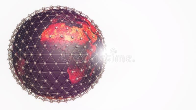 Tierra y conexiones del planeta ilustración del vector
