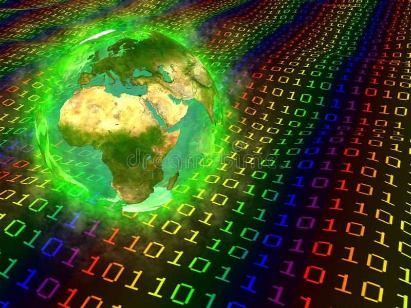 Tierra y datos digitales - Europa África Asia del planeta stock de ilustración