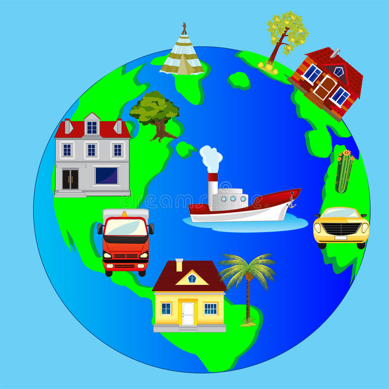 Tierra y edificio del planeta stock de ilustración