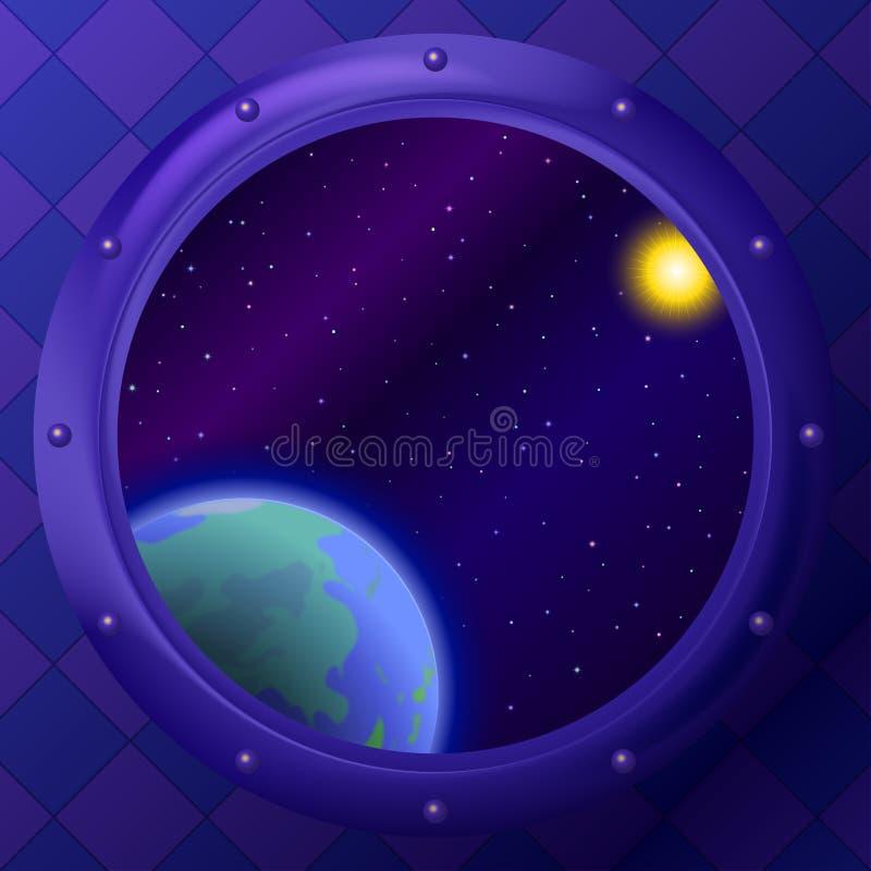 Tierra y espacio en ventana ilustración del vector