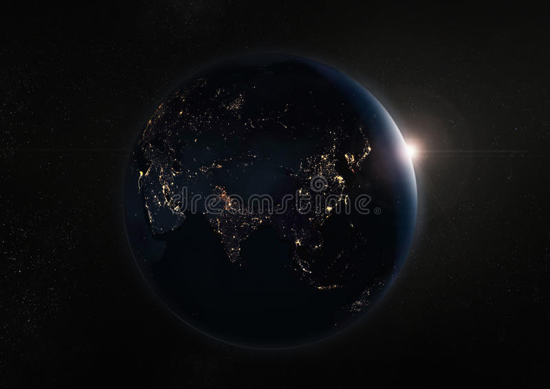 Tierra y galaxia negras de la noche Elementos de esta imagen equipados cerca imagen de archivo