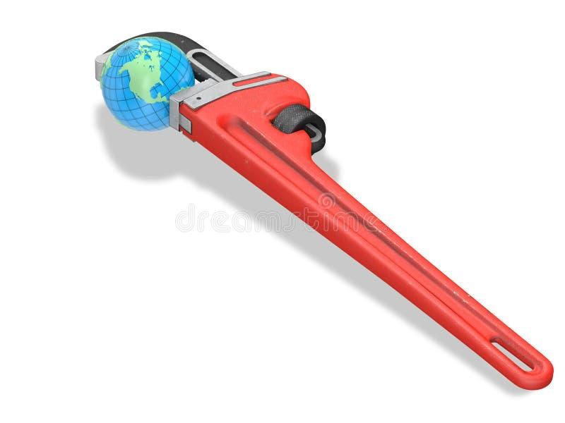Tierra y llave roja stock de ilustración