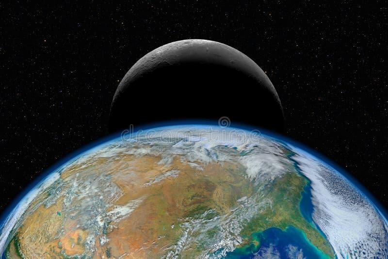 Tierra y luna del planeta contra fondo estrellado oscuro del cielo imagen de archivo libre de regalías