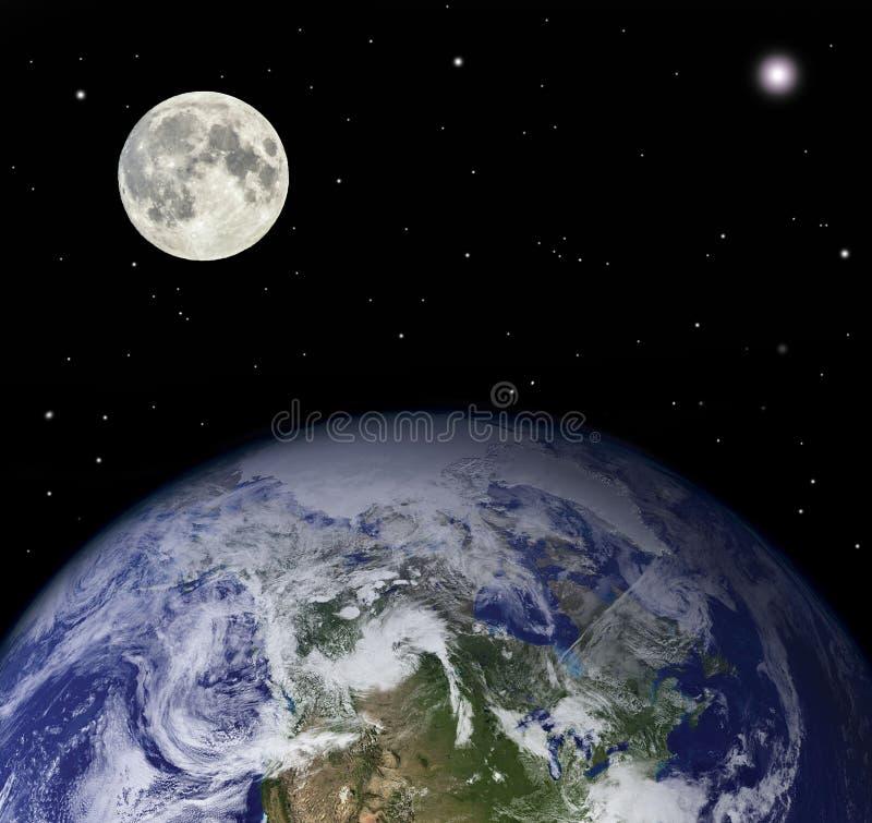 Tierra y luna del planeta - los elementos de esta imagen suministraron por la NASA imágenes de archivo libres de regalías