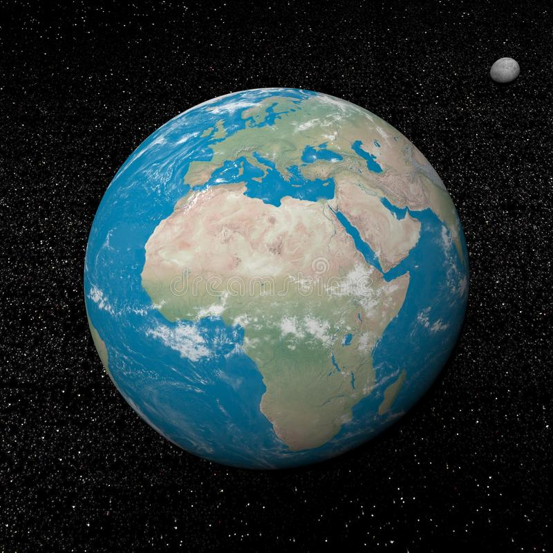 Tierra y planetas y estrellas de la luna - 3D rinden stock de ilustración