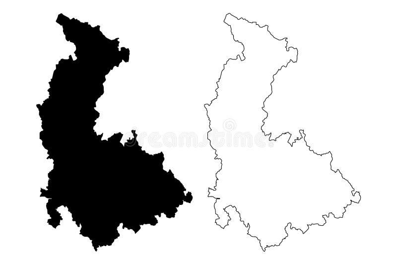 Tierras bohemias de la región de Olomouc, Czechia, regiones de la República Checa, ejemplo del vector del mapa de Checo Silesia,  ilustración del vector