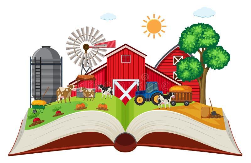 Tierras de labrantío en el libro abierto libre illustration