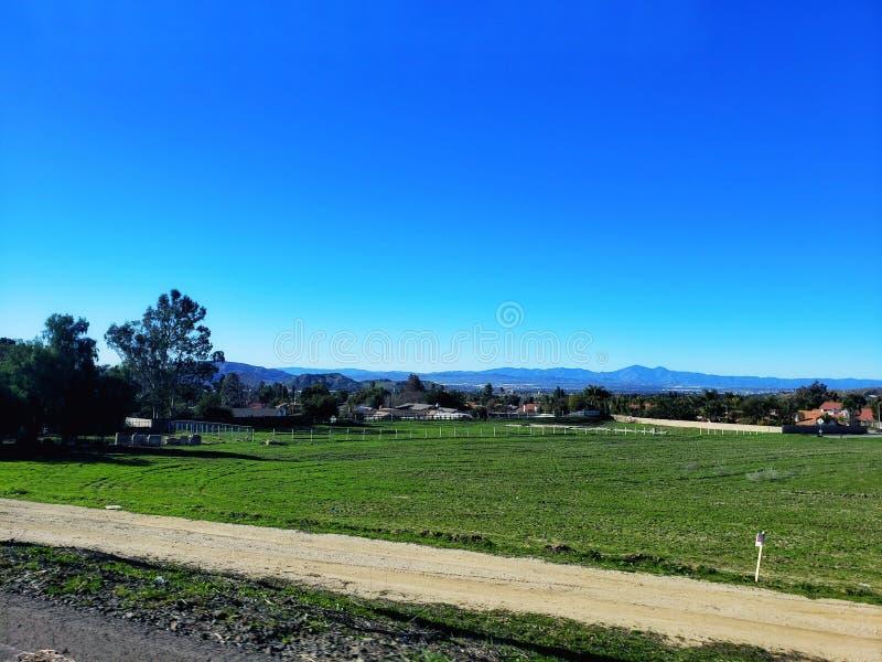 Tierras de labrantío verdes cercadas con el cielo azul foto de archivo