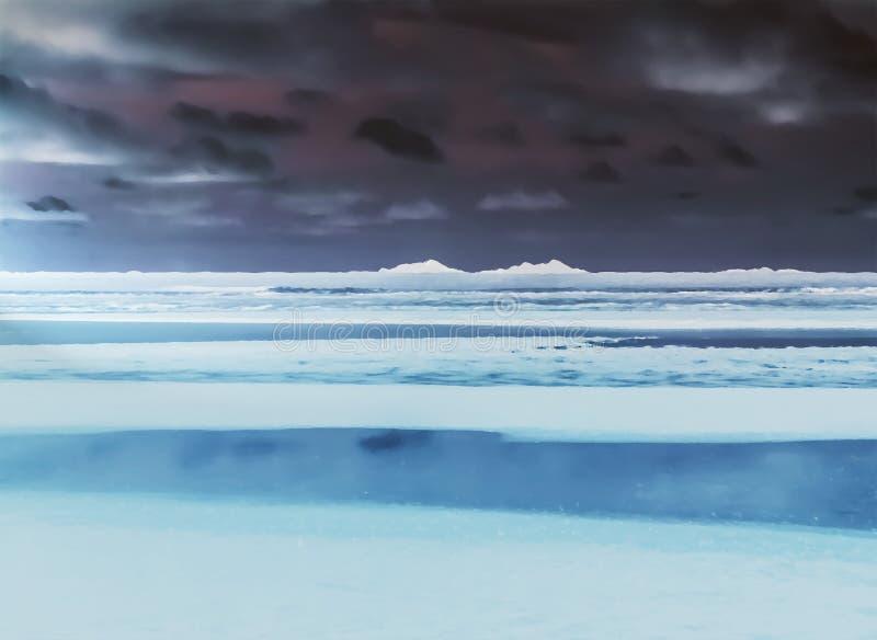 Tierras heladas árticas en la noche con los icebergs ilustración del vector