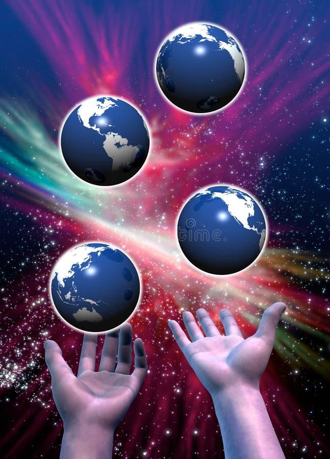 Tierras múltiples hecho juegos malabares stock de ilustración