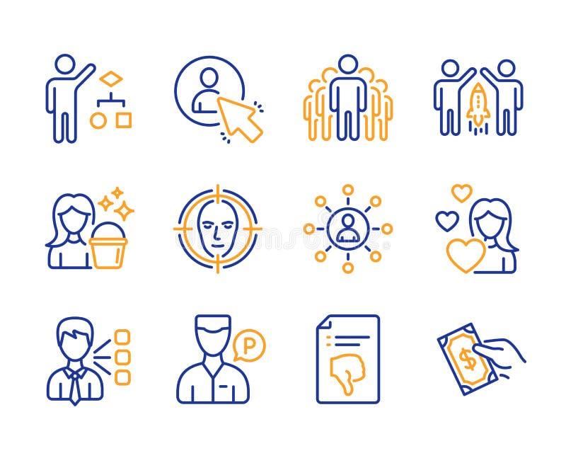 Tiers, ensemble d'icônes d'algorithme et de groupe Nettoyage, visage à détecter et signes d'association Vecteur illustration de vecteur