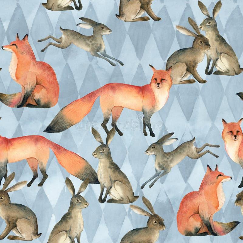 Tierskizze des Aquarells realistischer Wald roter Fuchs, Kaninchen, Hase Nahtloses Muster stock abbildung