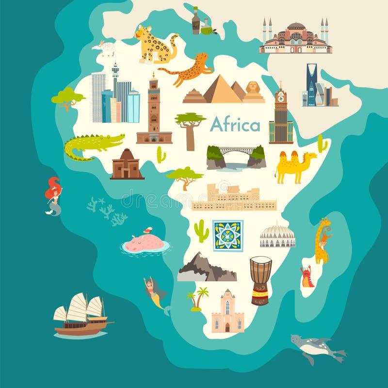 Tierweltkarte, Afrika Afrika-Kontinent mit Marksteinvektor-Karikaturillustration Plakat, Kunst, Reisekarte stock abbildung