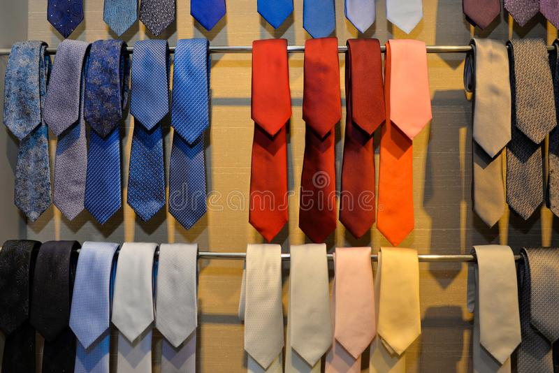 Ties Business, Clothes Stored, Colorful Classic and Elegant Men Style royalty free stock image