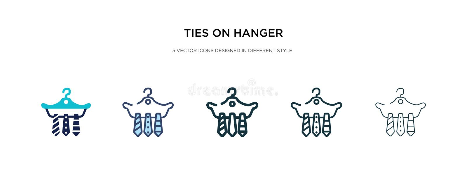 Ties on hanger icon in different style vector illustration. two colored and black ties on hanger vector icons designed in filled, vector illustration