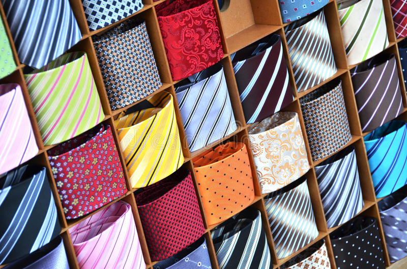 Ties on the shelf stock images