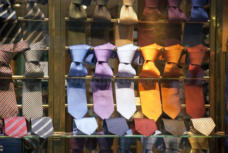 Ties in shop. Man ties in a shop royalty free stock image