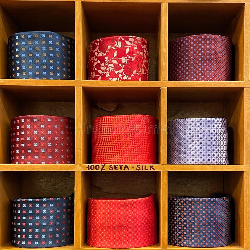 Ties in squared tiles stock photos